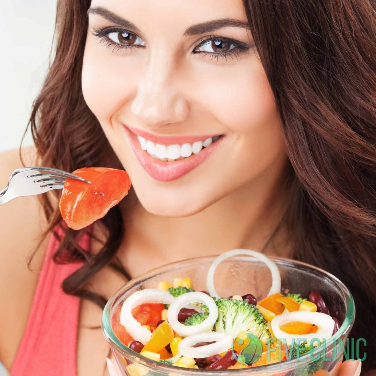 woman with vegetarian vegetable salad